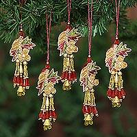 Beaded ornaments, 'Mughal Bouquet' (set of 5) - Hand Made Beaded Flower Christmas Ornaments (Set of 5)