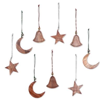 Wood ornaments, 'Nagina Celebration' (set of 9) - Wood ornaments (Set of 9)