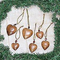 Wood ornaments, 'Hearts of Happiness' (set of 6)