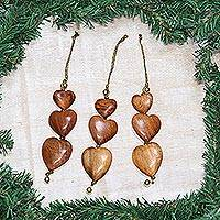 Wood ornaments, 'Joyous Hearts' (set of 3) - Wood ornaments (Set of 3)