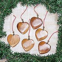 Wood ornaments, 'Festive Hearts' (set of 6)
