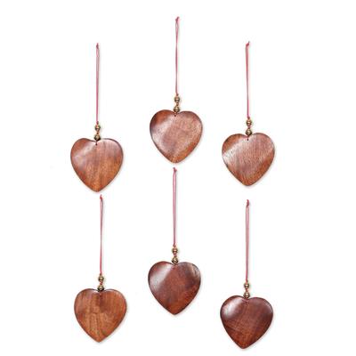 Wood ornaments, 'Festive Hearts' (set of 6) - Wood ornaments (Set of 6)