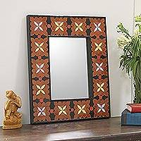 Mirror, 'Land of the Lily' - Ceramic Wall Mirror Handmade Mosaic from India