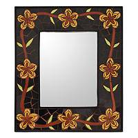 Mirror, 'Golden Cassia Blossoms' - Mirror
