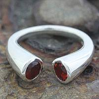 Garnet wrap ring, 'Face to Face' - Garnet wrap ring