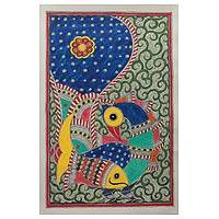 Madhubani painting, 'Magnificent Peacock' - Madhubani painting