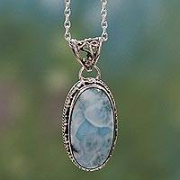 Larimar pendant necklace, 'Sky Delight'