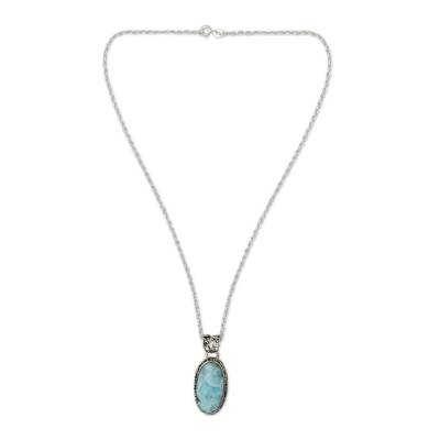Larimar pendant necklace, 'Sky Delight' - Hand Crafted Sterling Silver and Larimar Necklace