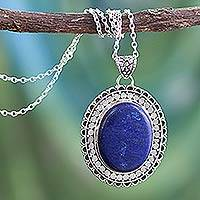 Lapis lazuli pendant necklace, 'Royal Indian Blue'