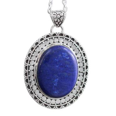 Lapis lazuli pendant necklace, 'Royal Indian Blue' - Lapis Lazuli Necklace Sterling Silver Jewelry from India