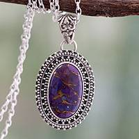 Sterling silver pendant necklace, 'Violet Enigma' - Sterling Silver and Composite Turquoise Pendant Necklace