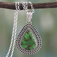 Sterling silver pendant necklace, 'Forest Tear' - Sterling silver pendant necklace