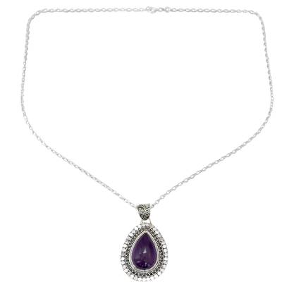 Amethyst pendant necklace, 'Violet Dreams' - Sterling Silver and Amethyst Pendant Necklace