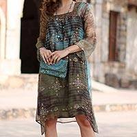 Beaded tunic dress, 'Glorious Jaipur' - Long Shibori-Dyed Green and Brown Dress with Sequins