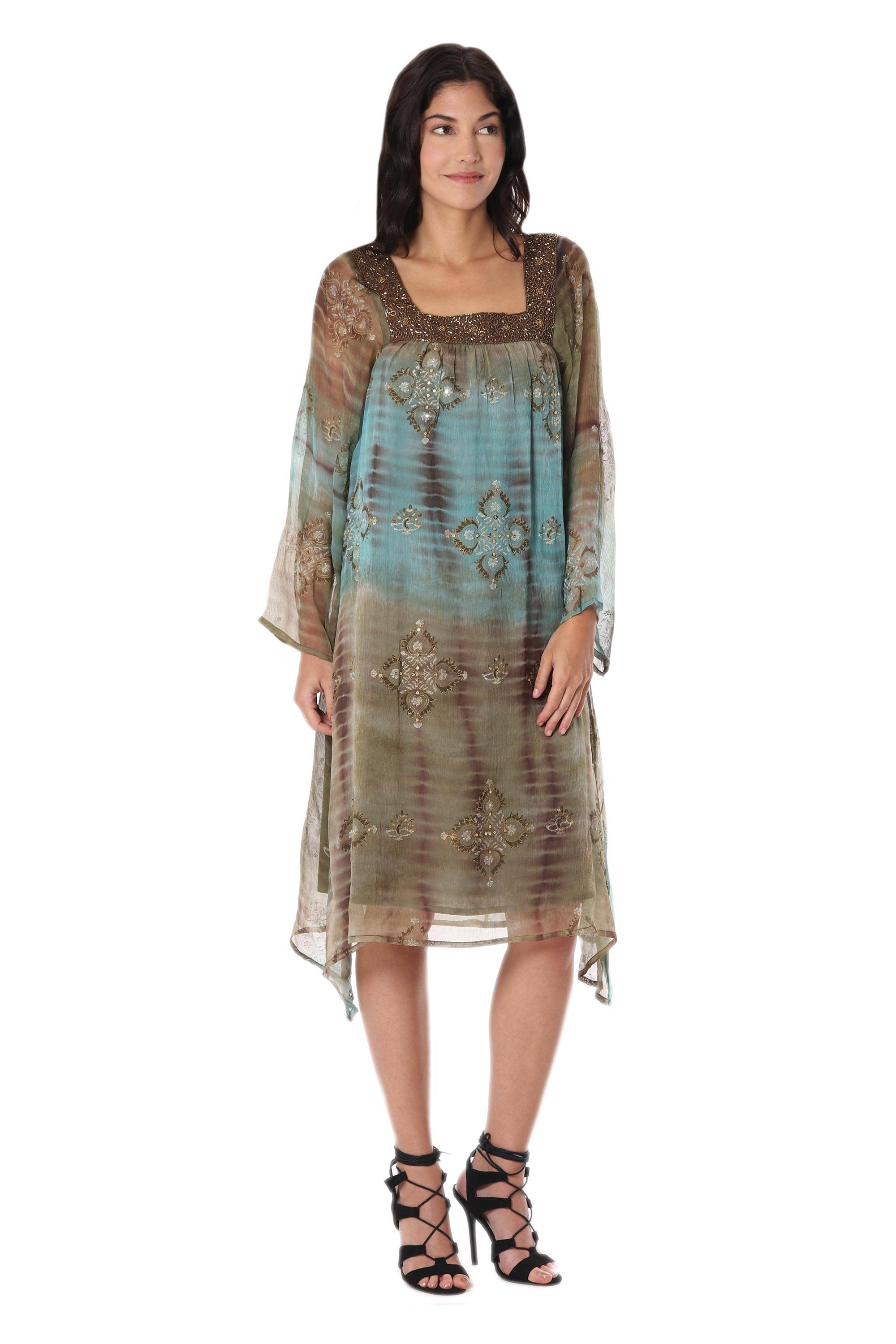 4114bc0f488 Long Shibori-Dyed Green and Brown Dress with Sequins,