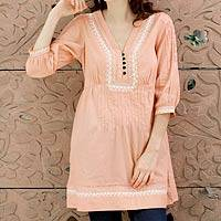 Cotton tunic, 'Peach Muse' - Cotton Boho Tunic Blouse with White Embroidery
