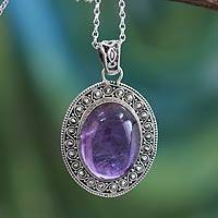 Amethyst pendant necklace, 'Purple Goddess' - Amethyst Necklace in Sterling Silver Jewelry from India