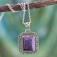 Sterling silver pendant necklace, 'Exotic Enigma' - Purple Pendant Necklace Handcrafted with Sterling Silver