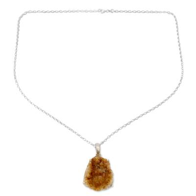 Citrine pendant necklace, 'Jaipur Jazz' - Uncut Citrine Artisan Crafted Necklace Sterling Silver