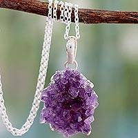 Amethyst pendant necklace, 'Jaipur Jazz'