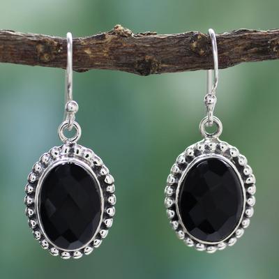 Onyx dangle earrings, 'Be Mesmerized' - Sterling Silver and Onyx Dangle Earrings