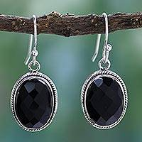 Onyx dangle earrings, 'Luscious Black' - Handcrafted Onyx Earrings with Sterling Silver Bezels