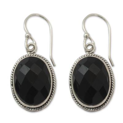 Fair Trade Jewelry Sterling Silver and Onyx Earrings