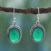 Sterling silver dangle earrings, 'Luscious Green'