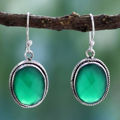 Sterling silver dangle earrings, 'Luscious Green' - Green Onyx Earrings in Sterling Silver Handmade in India
