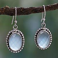 Blue chalcedony dangle earrings, 'Be Mesmerized'