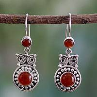 Carnelian dangle earrings, 'Fire Owl'
