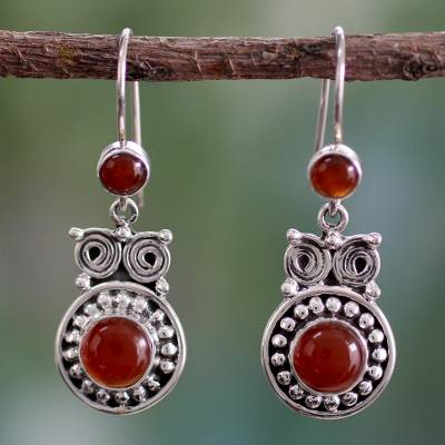 Carnelian dangle earrings, 'Fire Owl' - Handcrafted Indian Sterling Silver and Carnelian Earrings