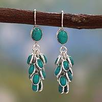 Sterling silver dangle earrings, 'Jaipur Melody' - Sterling Silver and Magnesite Dangle Earrings