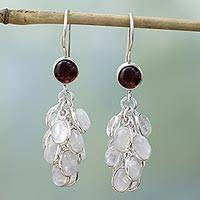 Rainbow moonstone and garnet dangle earrings, 'Jaipur Melody' - Rainbow Moonstone and Garnet Earrings Artisan Jewelry