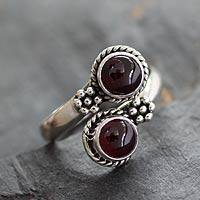 Garnet toe ring, 'Rawingarh Radiance' - Garnet toe ring