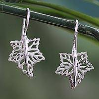 Sterling silver drop earrings, 'Maple Freeze' - Artisan Crafted Sterling Silver Drop Earrings