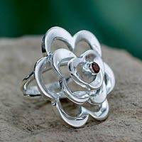 Garnet flower ring, 'Rose of Love' - Handmade Garnet and Silver Cocktail Ring