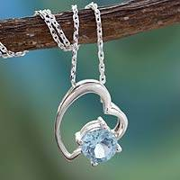 Blue topaz heart necklace, 'Promise of Love'