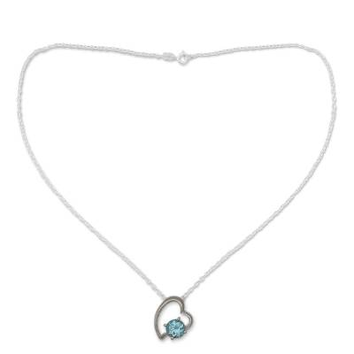 Indian Heart Jewelry Sterling Silver and Blue Topaz Necklace