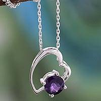 Amethyst heart necklace, 'Promise of Love' - Sterling Silver and Amethyst Necklace Indian Heart Jewelry