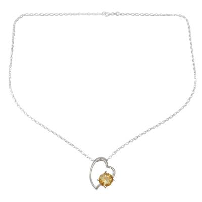Indian Heart Jewelry Sterling Silver and Citrine Necklace
