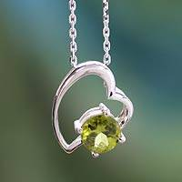 Peridot heart necklace, 'Promise of Love' - Handmade Peridot and Silver Heart Necklace