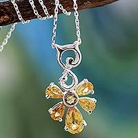 Citrine pendant necklace, 'Golden Blessings' - Citrine pendant necklace