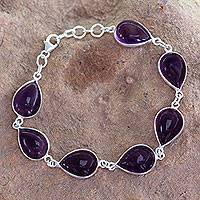 Amethyst link bracelet, 'Blissful Beauty'