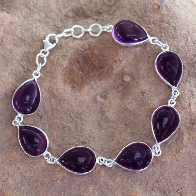 Amethyst link bracelet, 'Blissful Beauty' - Sterling Silver and Amethyst Link Bracelet