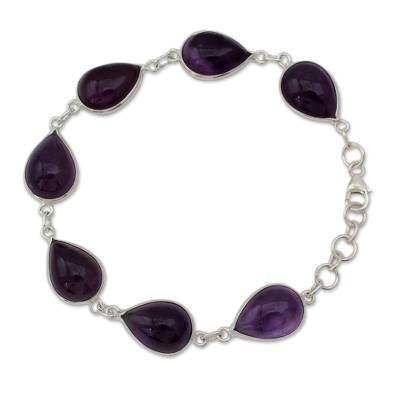 Amethyst link bracelet, 'Blissful Beauty' - Sterling Silver and Amethyst Link Bracelet