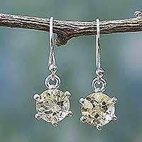 Citrine dangle earrings, 'Golden Solitaire'