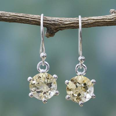 Citrine dangle earrings, 'Golden Solitaire' - Sterling Silver and Citrine Earrings Artisan Jewelry