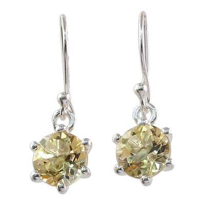 Sterling Silver and Citrine Earrings Artisan Jewelry