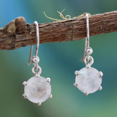 Moonstone dangle earrings, 'Romance' - Sterling Silver and Moonstone Dangle Earrings
